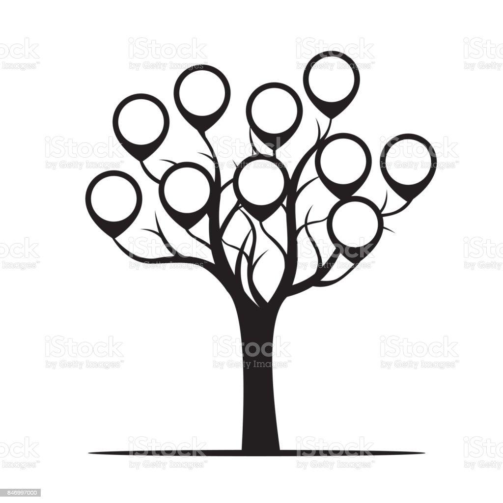 Árbol negro con bordes. Ilustración de vector. - ilustración de arte vectorial