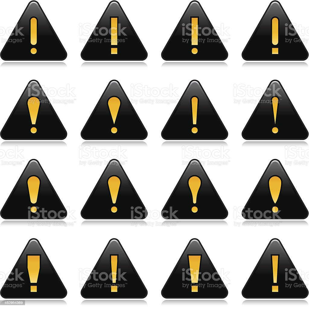 Black triangle warning icon with yellow exclamation mark sign royalty-free black triangle warning icon with yellow exclamation mark sign stock vector art & more images of alertness