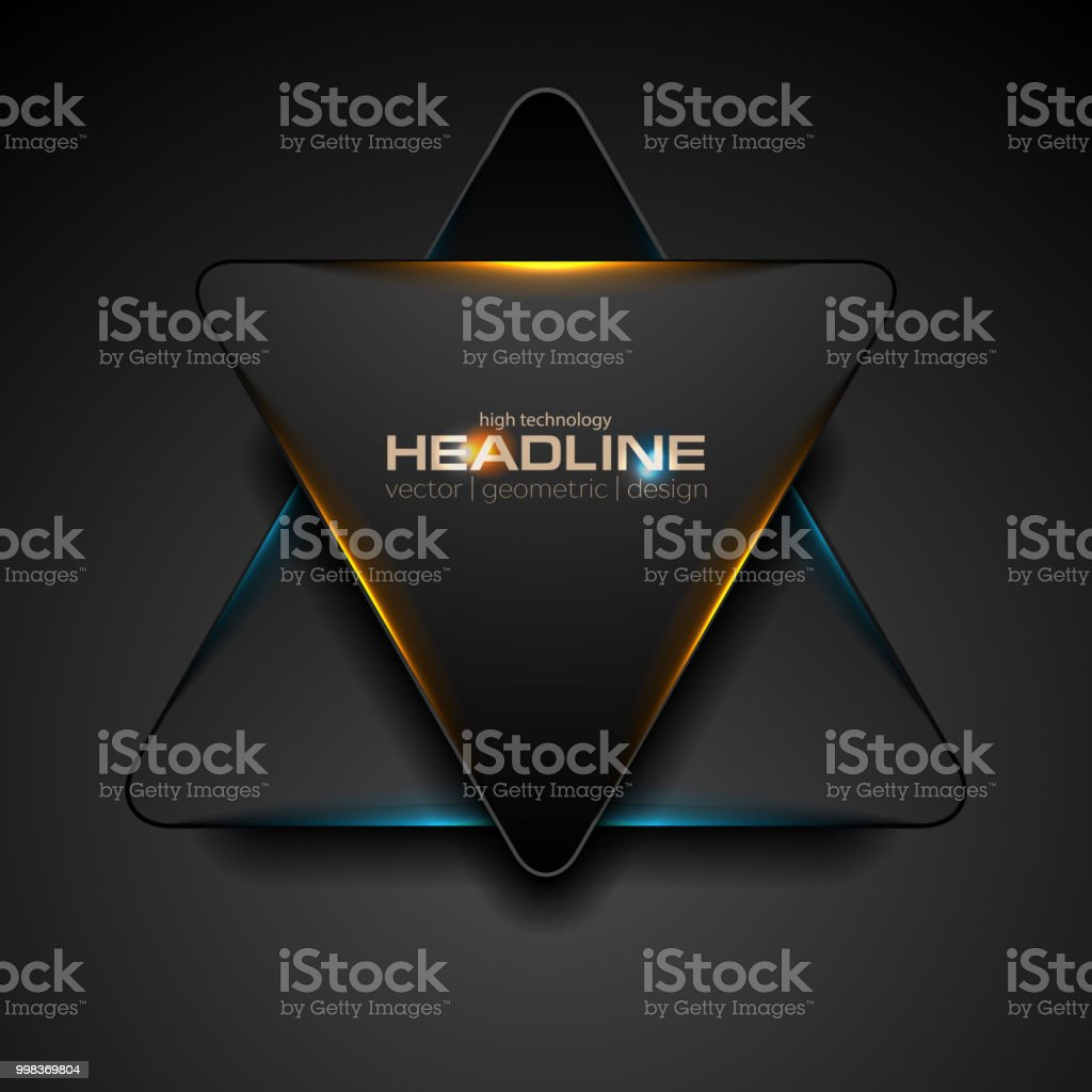 Black triangle with blue orange light abstract background vector art illustration