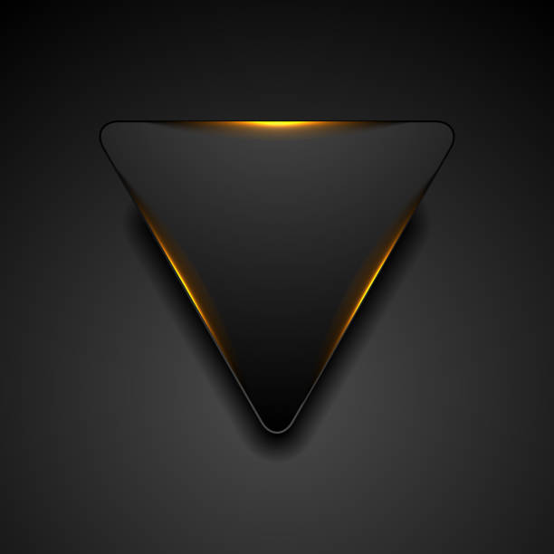 Black triangle with fiery orange light abstract background vector art illustration