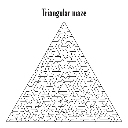 Black triangular labyrinth isolated on a white background,