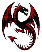 Black and red tribal dragon tattoo on white background. Vector illustration