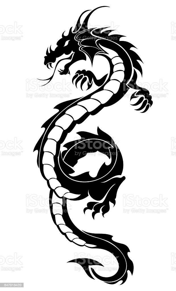 Black tribal dragon tattoo vector art illustration