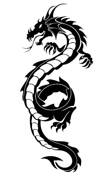 illustrations, cliparts, dessins animés et icônes de black tribal dragon tattoo - tatouages dragons