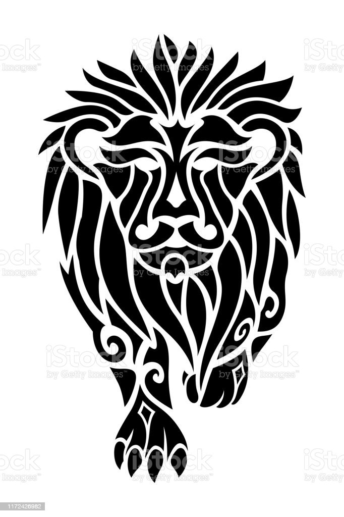 Black Tribal Tattoo Art With Lion Silhouette Stock Illustration