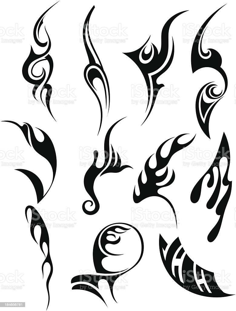 Black tribal tattoo designs royalty-free stock vector art