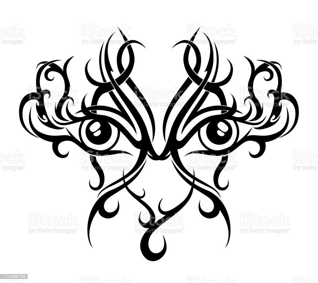 Motif De Tatouage Tribal Noir Avec Deux Yeux Sur Bakground Blanc