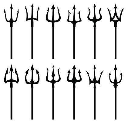 Black trident silhouette vector icon set