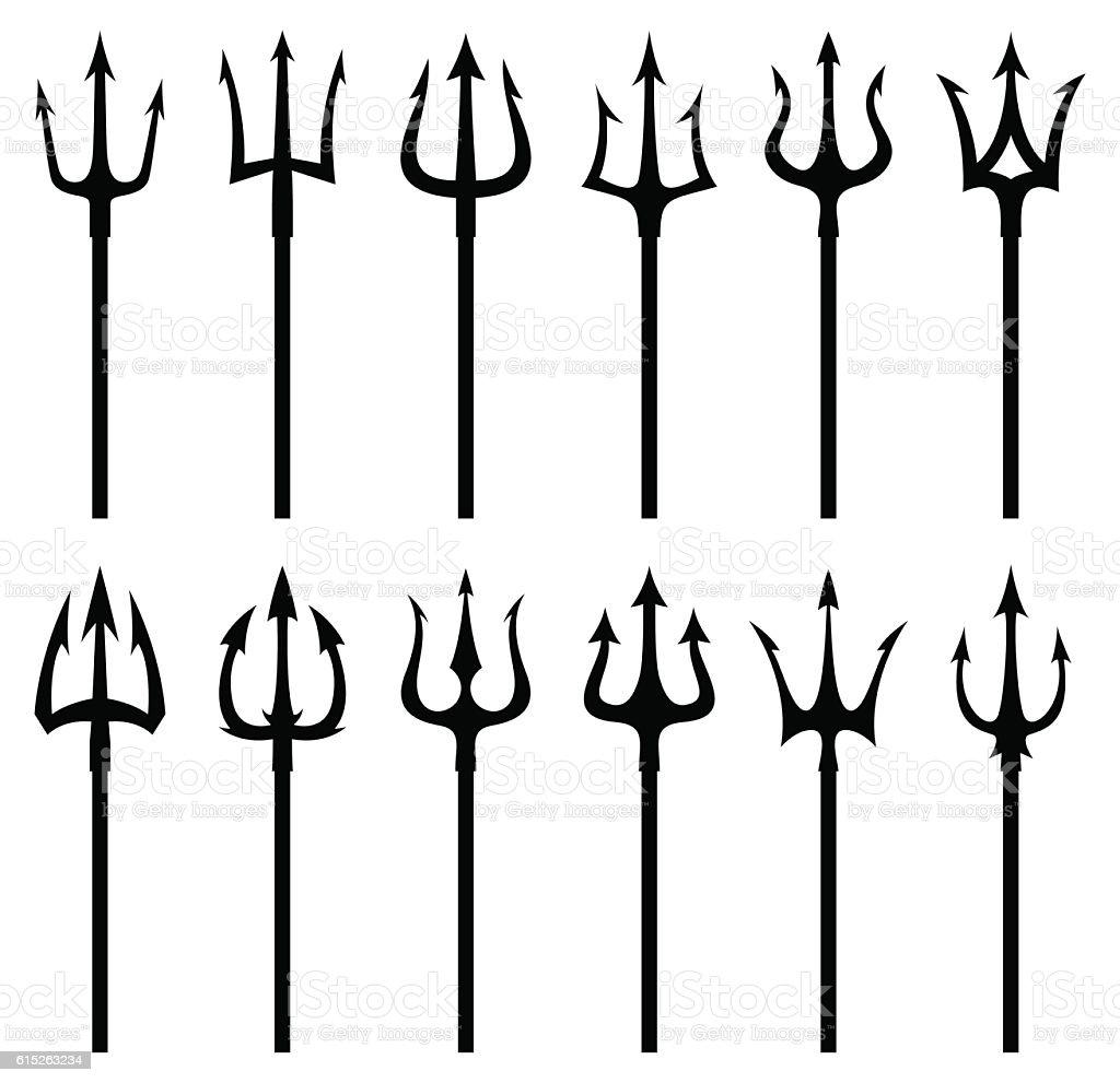 Black trident silhouette vector icon set vector art illustration