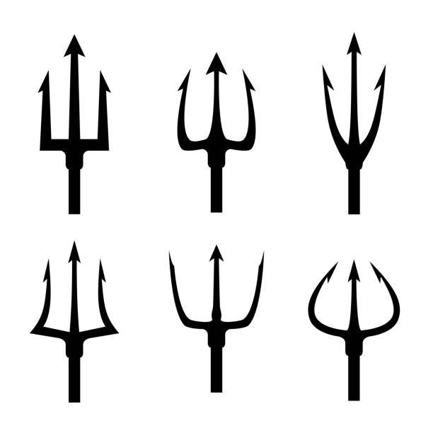 Black trident silhouette vector set Black trident silhouette vector set. Pitchfork tool object, pitchfork weapon, pitchfork sharp fork illustration pitchfork agricultural equipment stock illustrations