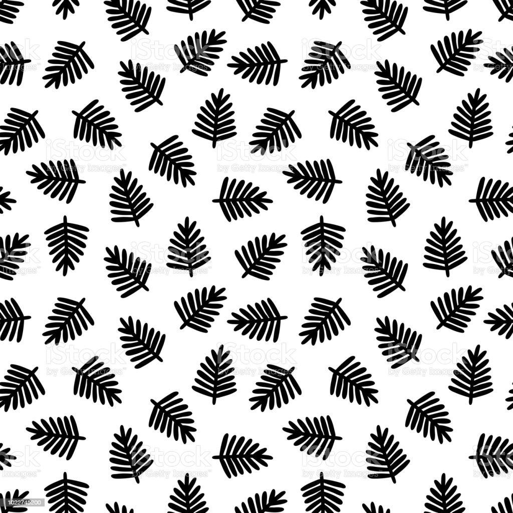 Tropical Noir Feuilles Modele Sans Couture Impression Avec Main