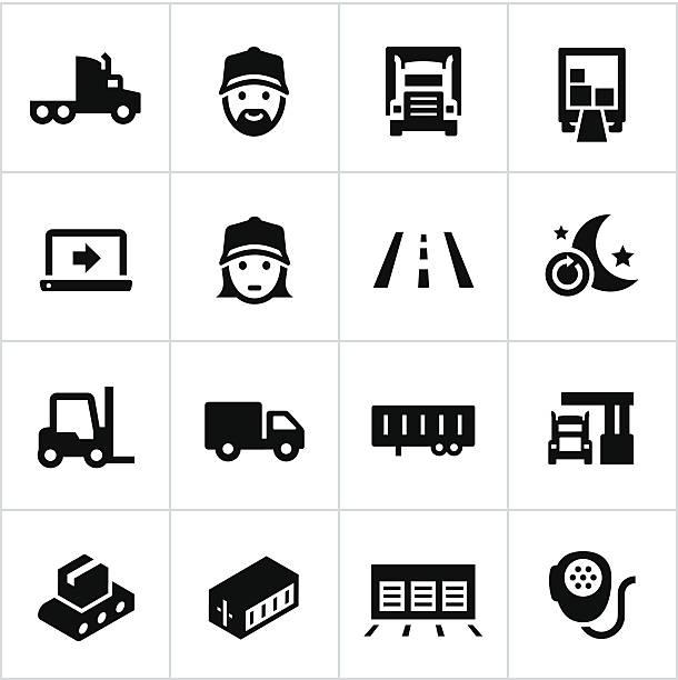 ilustraciones, imágenes clip art, dibujos animados e iconos de stock de iconos negros de mercancía por carretera - conductor de autobús