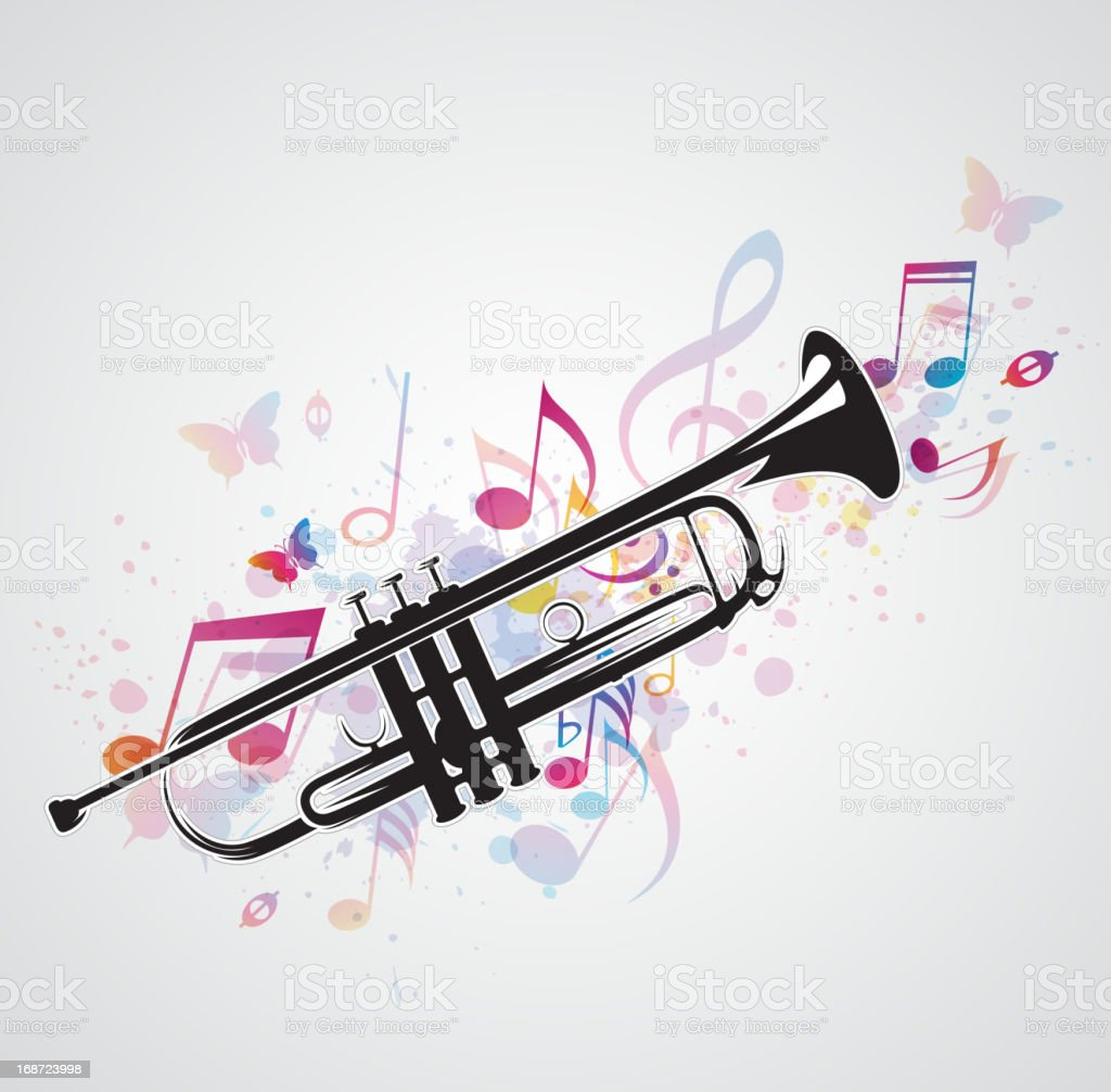 Black trumpet and notes royalty-free stock vector art