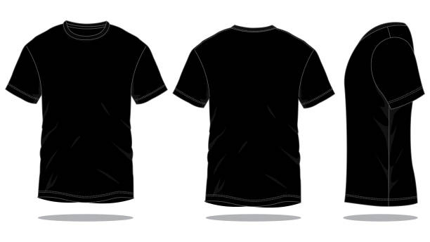 Black T-Shirt Vector for Template Front and Back View black shirt stock illustrations