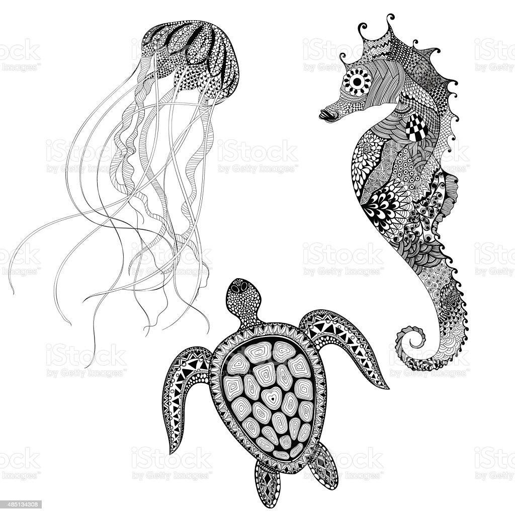 Black turtle, sea horse and jellyfish. Hand D vector art illustration