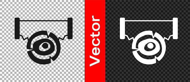Black Two-handed saw and log icon isolated on transparent background. Vector