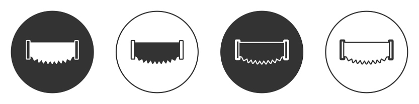 Black Two-handed saw icon isolated on white background. Circle button. Vector