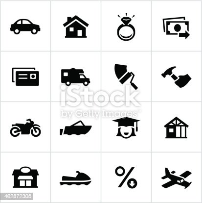 Different types of reasons loans are commonly issued. All white strokes/shapes are cut from the icons and merged allowing the background to show through.