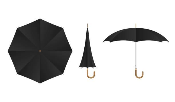 illustrazioni stock, clip art, cartoni animati e icone di tendenza di black umbrella set vector illustration isolated - mockup outdoor rain