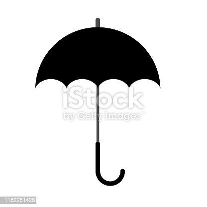 Black Umbrella silhouette icon or symbol. Flat color design vector illustration.