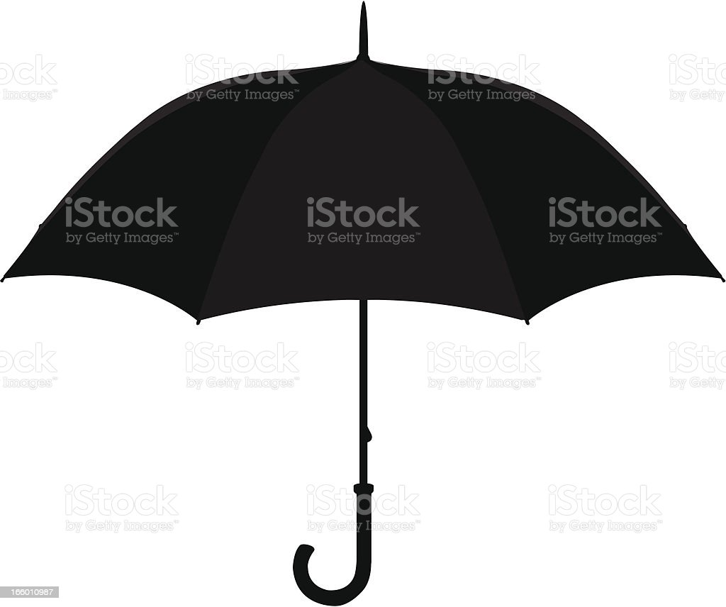 A black umbrella silhouette isolated on a white background royalty-free stock vector art