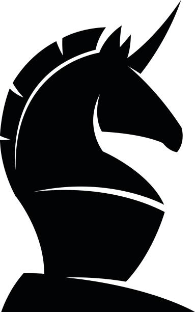 Black unicorn Black unicorn on a white background chess knight silhouette stock illustrations