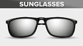 Black Unisex Sunglasses, Trendy Vector 3D Shades