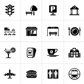 Black Urban and city elements icons - vector icon set