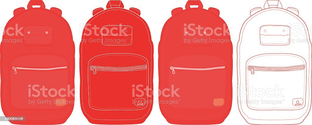 Black urban backpack set vector art illustration