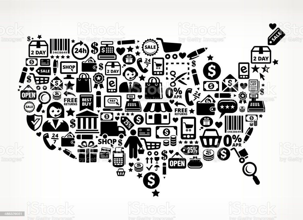 Black Usa Map Shopping Commerce Royalty Free Vector Arts Stock - Free us map vector
