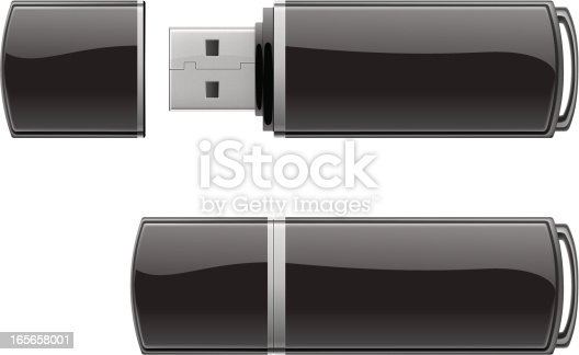 Vector template of black USB flash drive.