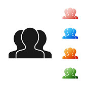 Black Users group icon isolated on white background. Group of people icon. Business avatar symbol - users profile icon. Set icons colorful. Vector Illustration
