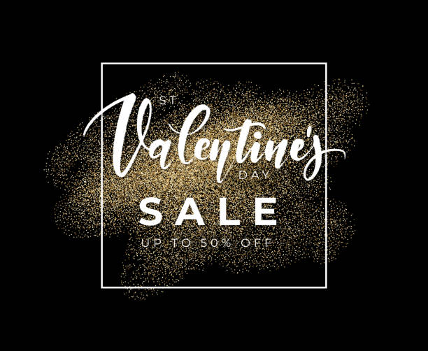 illustrazioni stock, clip art, cartoni animati e icone di tendenza di black valentine's day sale coupon design with gold glitter. vector illustration for banner of tag. - love word