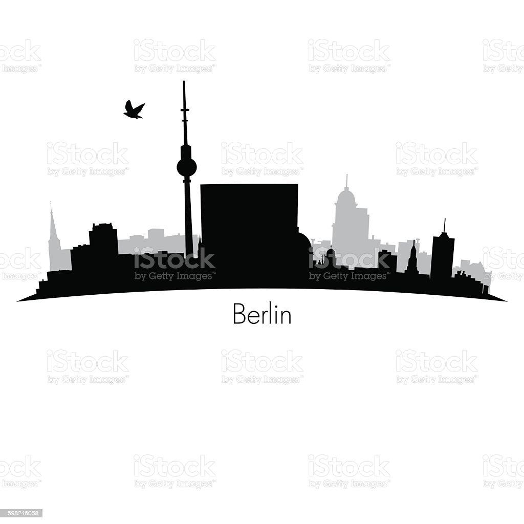 Black vector Berlin silhouette skyline – Vektorgrafik