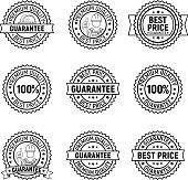 Black vector best price premium quality guarantee label set