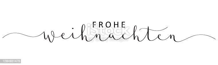 istock FROHE WEIHNACHTEN black vector brush calligraphy banner card (MERRY CHRISTMAS in German) 1284931475