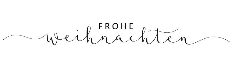FROHE WEIHNACHTEN black vector brush calligraphy banner card (MERRY CHRISTMAS in German)