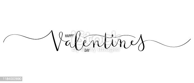 HAPPY VALENTINE'S DAY black vector brush calligraphy banner with swashes