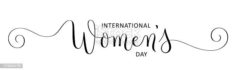 INTERNATIONAL WOMEN'S DAY black vector brush calligraphy banner