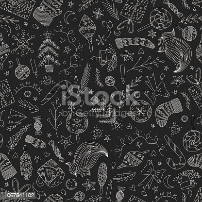 istock black vector christmas doodle seamless pattern with ornaments, santas sock, mitten, beard, pine tree, candy cane, lollipop, bow, candies, stars, lights, presents. dark vintage christmas wrapping paper 1067641102