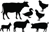 Black vector farm animal silhouettes on white
