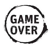 Black grunge stamp GAME OVER. Vector Illustration.