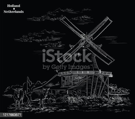 Vector hand drawing Illustration of Landmark watermill in Amsterdam (Netherlands, Holland). Watermill and goats grazing on the meadow. Vector engraving illustration in white color isolated on black background.