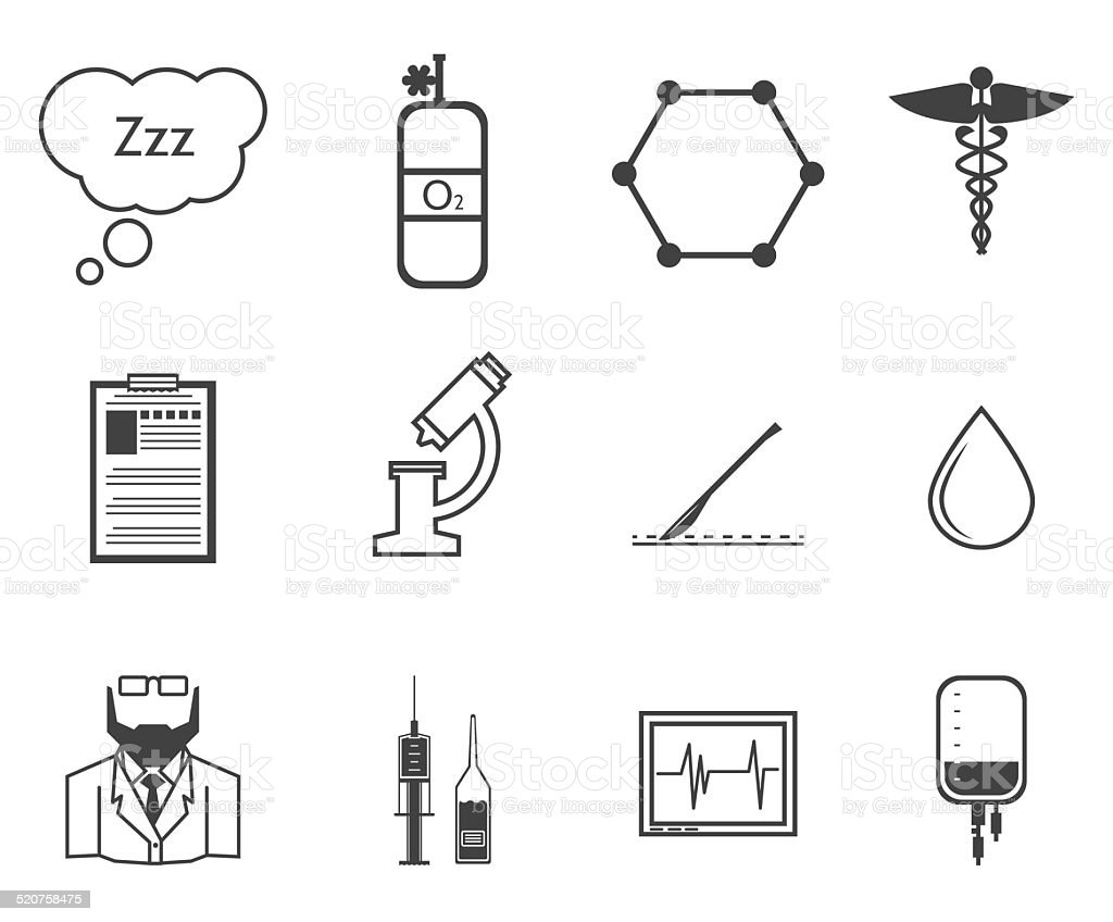 Black vector icons for anesthesiology vector art illustration