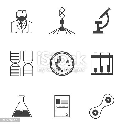 Set of black silhouette vector icons with elements for bacteriology research on white background.