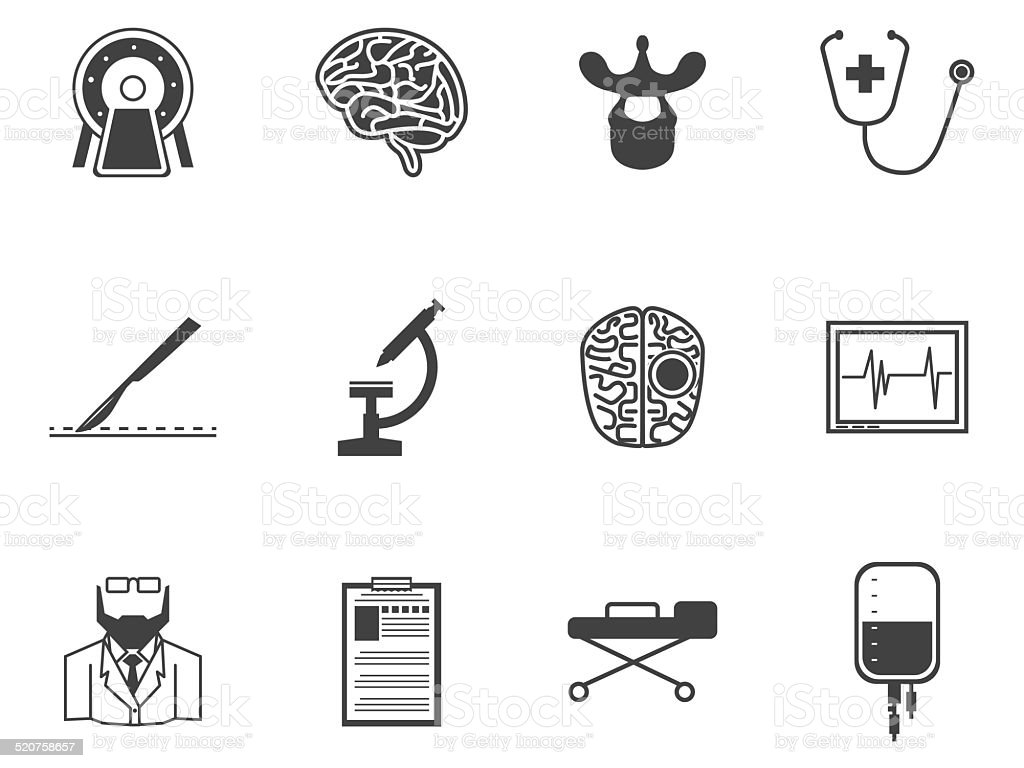 Black vector icons for neurosurgery vector art illustration