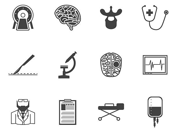 Black vector icons for neurosurgery Set of black silhouette vector icons with elements for neurosurgery on white background. brain stem stock illustrations
