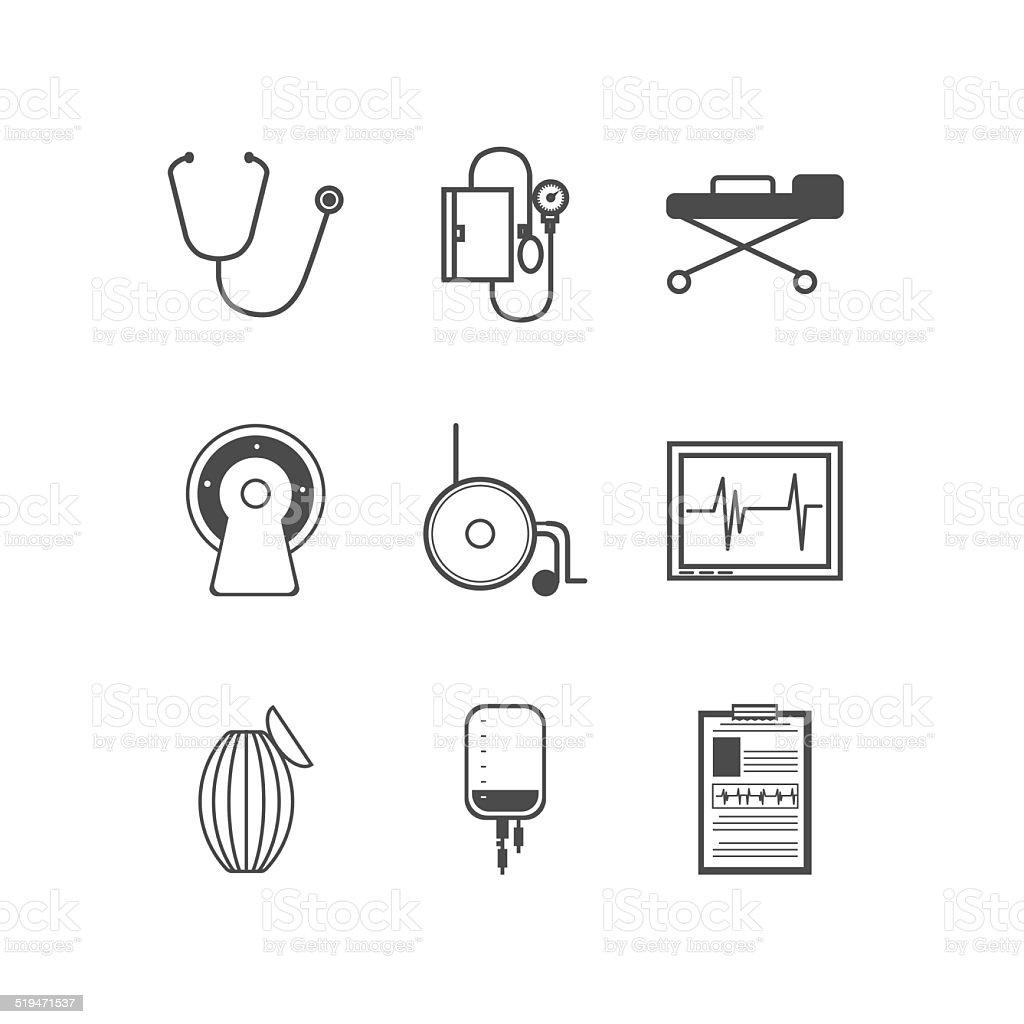 Black vector icons for resuscitation vector art illustration