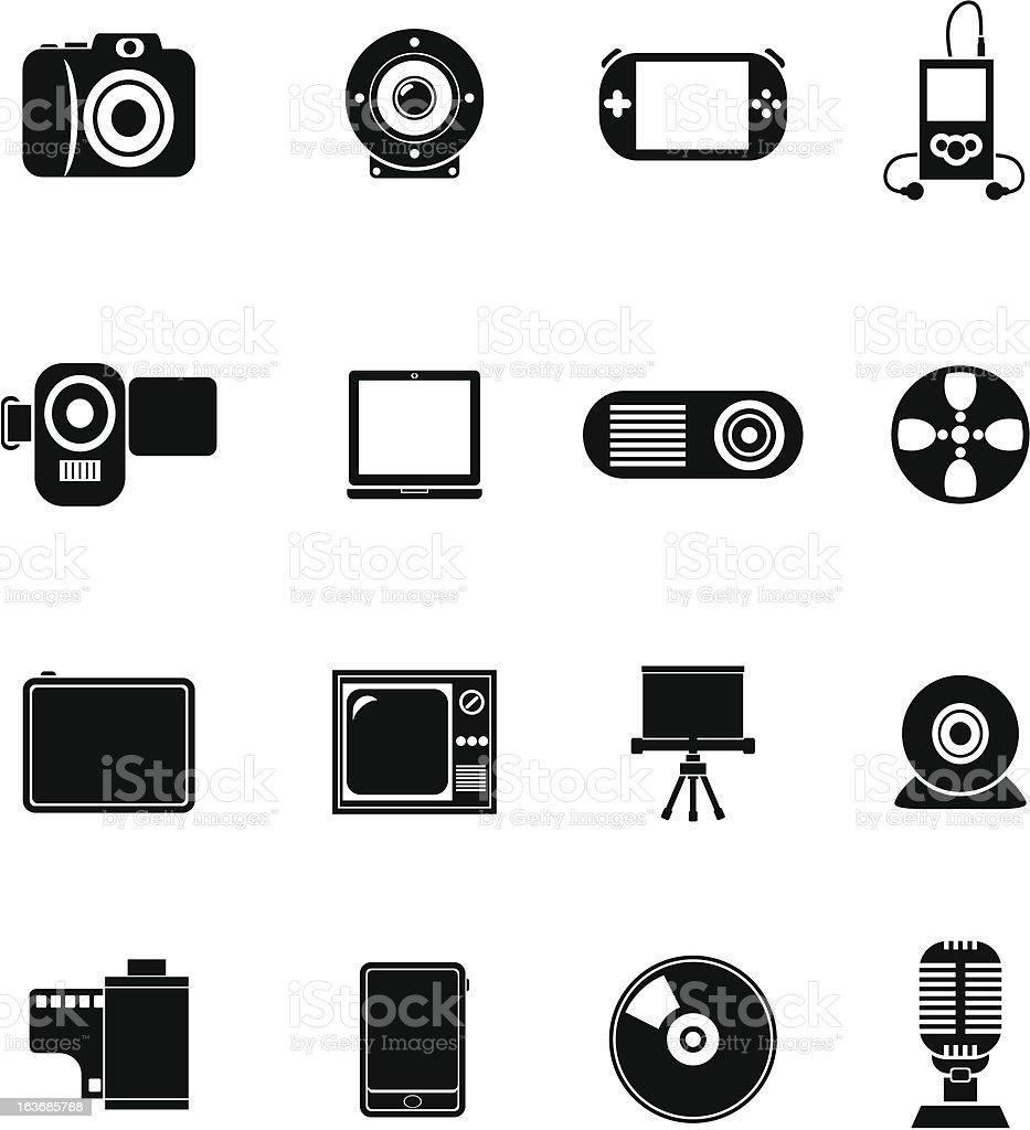 Black Vector Icons - Multimedia vector art illustration
