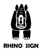 Black Vector illustration on a white background of a rhino sign. Suitable for making logo.